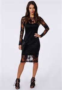 abi burnout lace long sleeve midi dress black dresses