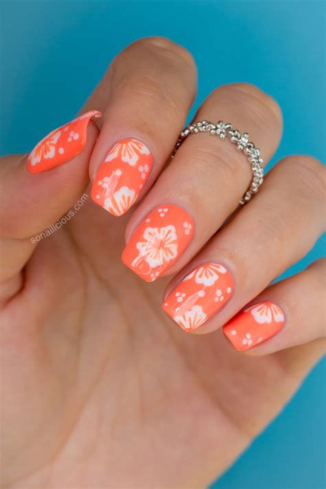 flower nail designs hawaiian flower nail tutorial