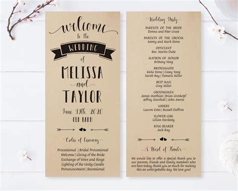 Kraft Paper Wedding Programs - LemonWedding