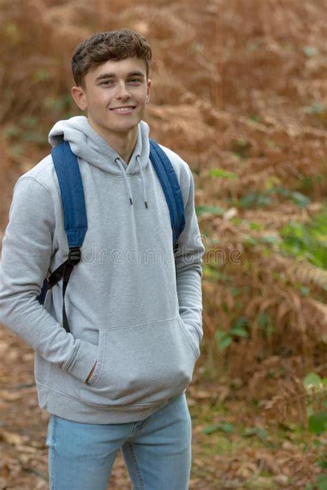 Year Old Teenage Boy Outside Stock Image