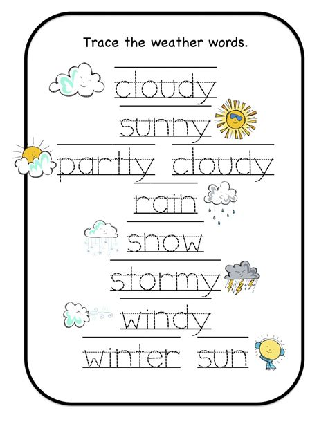worksheets on weather for kindergarten december 2012 preschool printables