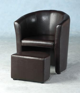 tempo luxury tub chair with footstool in black or brown