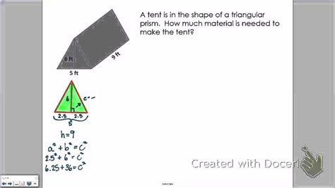 Total Surface Area Of A Tent Youtube
