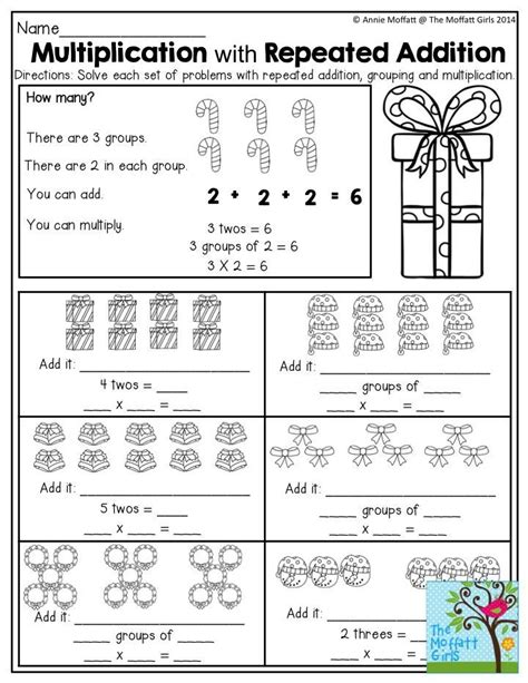 repeated addition worksheets common repeated