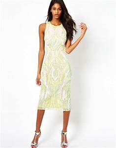 Asos Backless Midi Sequin Dress in Green | Lyst