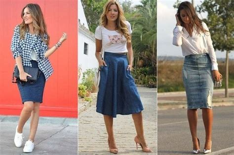 What kind of tops look good with knee length jeans skirts? - Updated