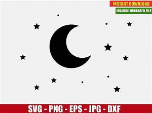 Moon, Stars, Vector, Clipart, Free, Svg, Dxf, Png, Digital, Image