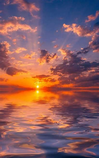 Sunset Clouds Sky Reflection Horizon Sea Nature