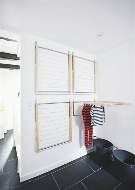 wall mounted laundry drying rack 30 ideas to keep your utility spaces uncluttered digsdigs