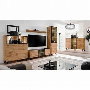 Meuble TV Design LED QuotThinquot 150cm Noir Naturel