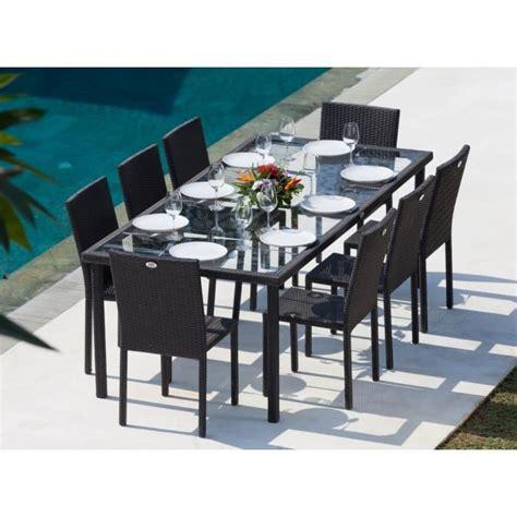 table et chaise de jardin en resine tressee ensemble table de jardin 220 cm et 8 chaises résine