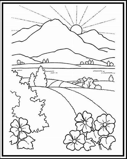 Coloring Scenery Pages Mountain Sunset Landscape Printable
