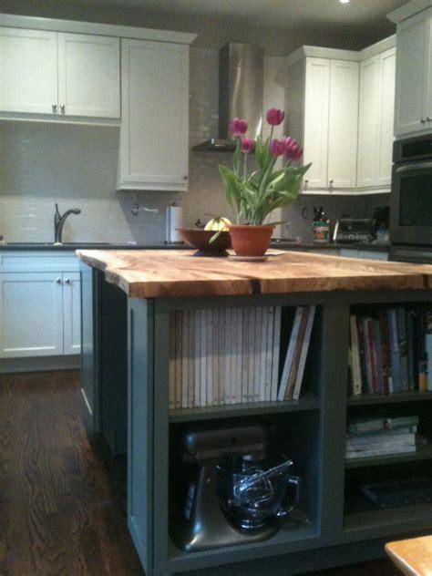 reclaimed  edge elm slab kitchen island contemporary kitchen toronto  urban tree