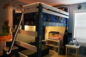 Child s loft bed with rope lights steps whiteboard and