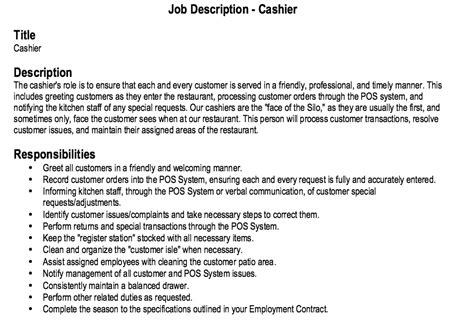 description of cashier duties for resume restaurant cashier description resume http resumesdesign restaurant cashier