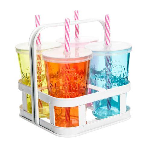 4 verres avec paille en verre multicolore support m 233 tal maisons du monde