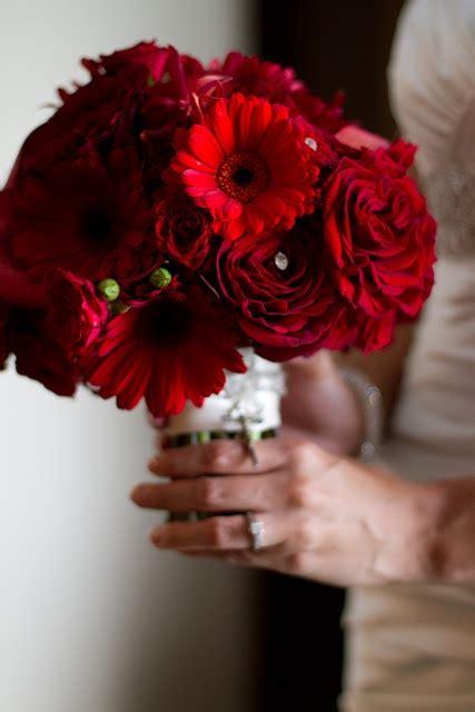 crimson wedding flowers scarlet bridal bouquet red