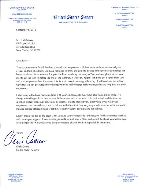 how to write a letter to a congressman senator chris coons visit pj fitzpatrick