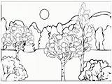 Coloring Dirt Road Designlooter Forest sketch template