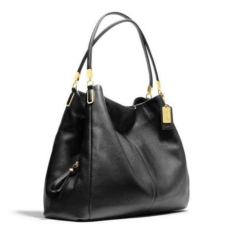 lyst coach madison phoebe shoulder bag  leather  black