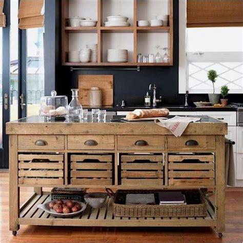 reclaimed wood island  apple crate drawers tears