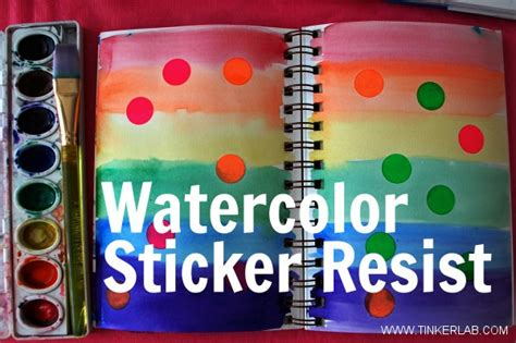 Sticker Resist With Watercolors Tinkerlab