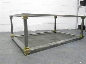 brushed steel and brass coffee table for sale at 1stdibs With brushed brass coffee table