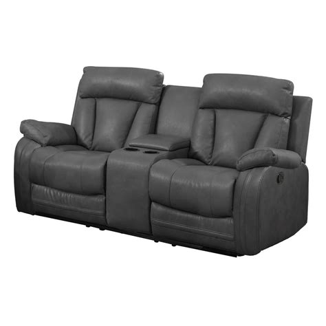 motion loveseat with console gray bonded leather motion loveseat 2 reclining seats