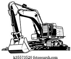 excavator clip art  top  excavator vectors fotosearch