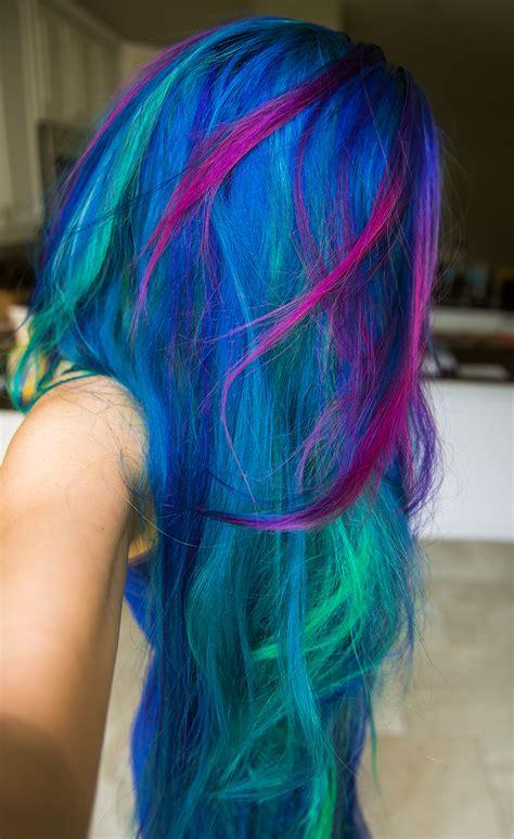 multi color hair dye rainbow hair multi colored hair manic panic dye