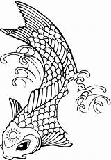 Fish Koi Coloring Pages Tattoo Sun Drawing Line Yang Yin Printable Template Forehead Its Ambush Drawings Tattoos Designs Getcolorings Clipartmag sketch template