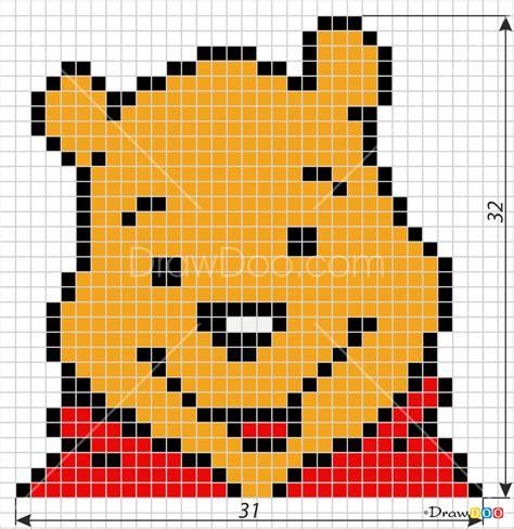 draw winnie  pooh pixel cartoons