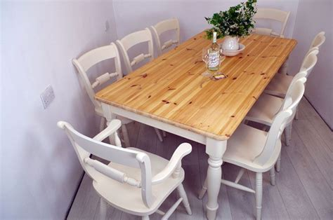 Pine 6ft Farmhouse Table and 8 Beech Oxford Bar Back