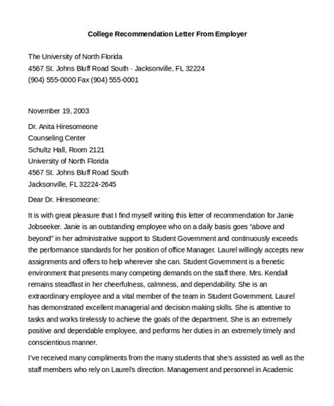 sample letters  recommendation  employment