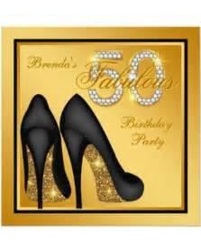 slash prices on gold fabulous 50th birthday invitation