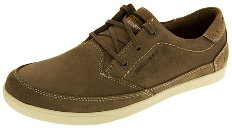 Mens Skechers Real Suede Leather Casual Shoes Memory Foam