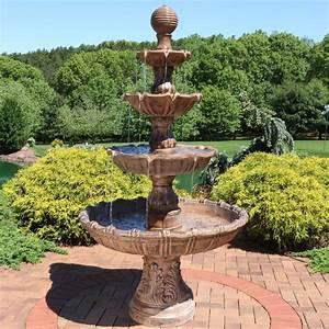 Sunnydaze, Large, Tiered, Ball, Outdoor, Water, Fountain, Backyard, Garden, Feature, -, 80, U0026quot