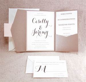 sand and soft coral wedding invitation bellus designs With portrait pocket wedding invitations