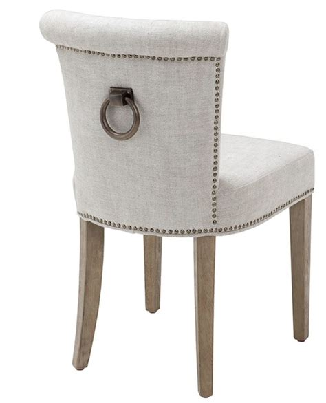 white linen dining chair with ring handle allissias