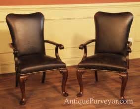 leather upholstered dining room arm chairs with queen anne