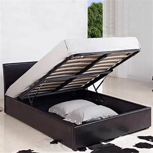4ft small double leather ottoman storage bed black brown for Small double bed ottoman storage