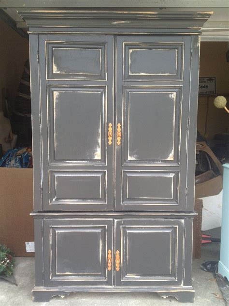 Black Storage Armoire Large Distressed Black Storage Armoire By