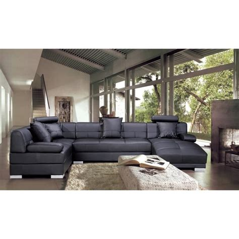 canapé d 39 angle capitonné cuir noir méridienne napoli achat vente canapé sofa divan