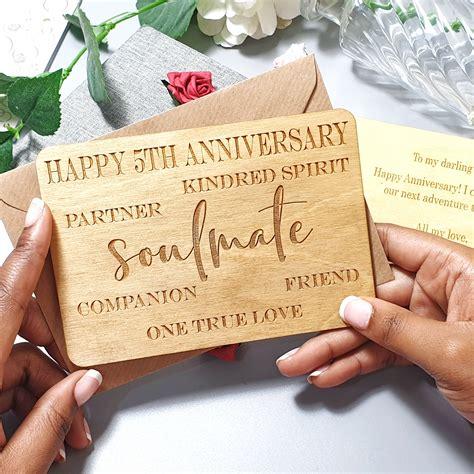 personalised anniversary wood card wife husband