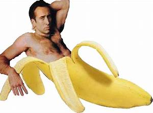 """""""Nicolas Cage In A Banana - Original Yellow"""" Stickers by"""