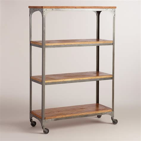 world market bookcase wood and metal aiden bookcase world market