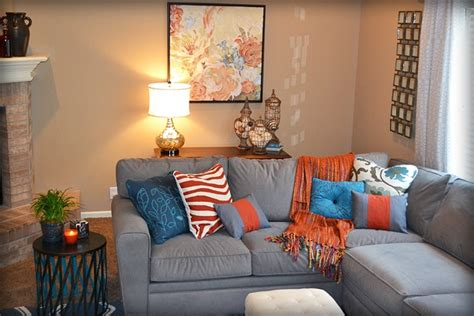 Orange Grey And Turquoise Living Room by Blue Orange And Gray Living Room Fluff Designs