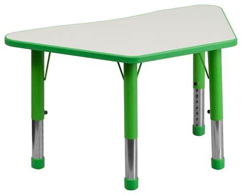 flash furniture height adjustable trapezoid green plastic
