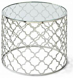 Heston hollywood regency silver beveled glass round end for Round glass silver coffee table