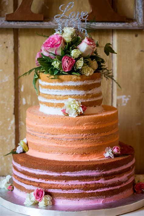 tier vanilla naked ombre cake